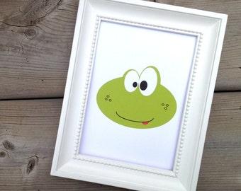 Green Frog Print, Kids Room Decor, Childrens Art Print, Cute Nursery Decor, Wall Art Animal Poster