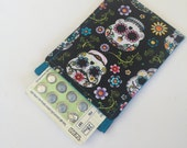 Birth Control Pill Sleeve, Pill Travel Sleeve In Small Sugar Skull print, Cute and Discreet for your Bag