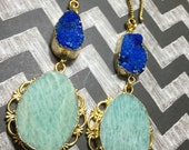 amazonite and deep blue druzy agate 3 mm 8 gauge and up earweights earrings