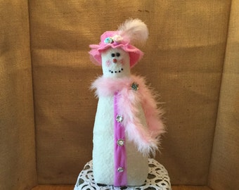 PRIMITIVE/FOLKART/SHABBYCHIC Snowman, Snowlady
