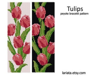 Tulips - Peyote Bracelet Pattern - INSTANT DOWNLOAD