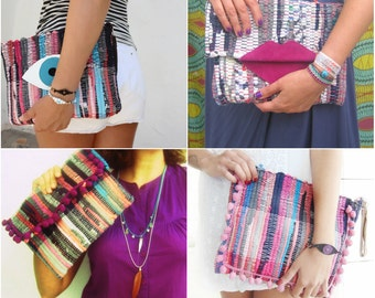 Wholesale Bags Bundle of 4 Embellished Small Kilim Bags Envelope Clutch and Zippered Style. Wholesale Handbags