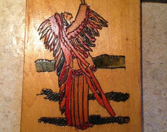 Handmade Native American Woodburned Plaque