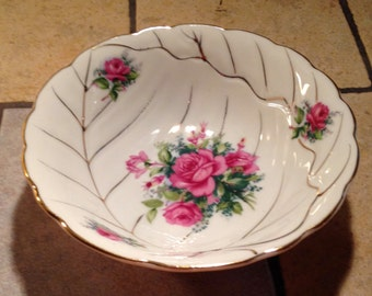 Small Serving Bowl With Rose Pattern