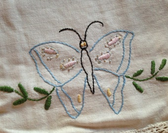 Pair of Matching Butterfly Hand-Embroidered Dresser Doilies