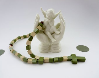 Lego®Children's Rosary - Rosary made of  Lego Bricks  - Army Green and Beige Lego Camouflage Rosary