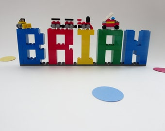 Lego Name Sign - Kids Room Decor - Lego Bricks Name Letters Shelf Decor - Birthday Decor