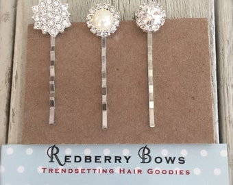 RHINESTONE HAIR BOBBIES Set of 3- Starburst Diamond, Pearl with Diamonds, Large Rhinestone-Free shipping with the purchase of another item