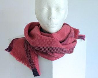 Handmade Woven Winter Scarf Shawl Pink Magenta Raspberry Wool Warm Gentle Soft