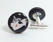 Canada Map with a Mini Heart Cufflinks