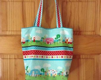 Vintage Camper Tote Bag Library Bag Book Bag Little Girl Cute Gift