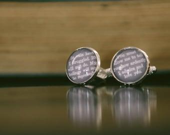 Jane Austen Quote Cufflinks - Unique Wedding Cufflinks - Mr Darcy Cuff Links - Gift For Groom - Anniversary Gift - Unique Gifts For Men