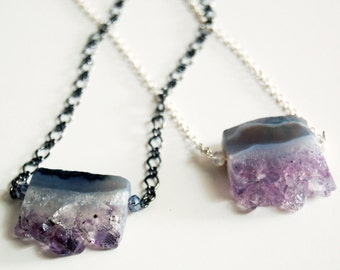 Amethyst Geode Slice Section Pendant, Choice of Chain Color, Crystal Necklace, Raw Amethyst Point Necklace, Amethyst Bar Necklace, Raw Stone