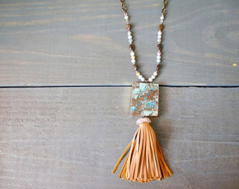 Gold Dipped Jasper and Tassel Long Necklace