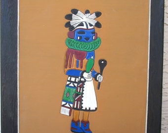 Vintage Native American Tooled Leather Craft ONGCHOMA Compassion Kachina Dancer Wall Art Painting Signed Ray Briggs