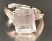 Moonstone Ring Statement Ring Moonstone Gemstone Ring Emerald Cut Ring Size 7 Ring