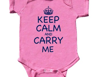 Funny Baby Girl Bodysuit Keep Calm Creeper Modern GIrl Rompers Hot Pink Rompers