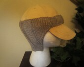 Practical Warm Grey Hand Knit Baseball Cap Ear Warmers