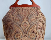 Rasper Chocolate Chenille Large Craft Project Tote/ Knitting Tote Bag - READY TO SHIP