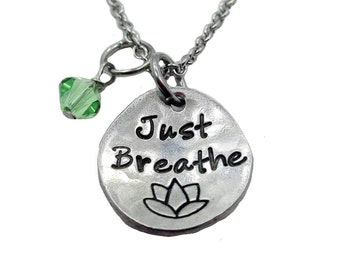 Just Breathe Hand Stamped Fine Pewter Necklace