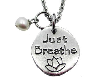Just Breath Hand Stamped Fine Pewter Necklace