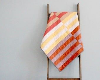Modern Baby Girl Quilt, Baby Blanket, Crib Quilt, Stroller Blanket - Orange, Yellow, Pink Stripes
