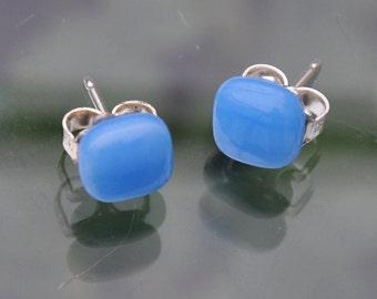 Sky Blue Glass Studs Earrings