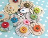 Paper Dot Scrapbook Embellishments, Smash Book Junk Journal Embellishments, Vintage Paper Circles, Daily Life Planner Stickers, Set of 12