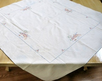 Asian Themed Table Topper Tablecloth Cross Stitched Vintage