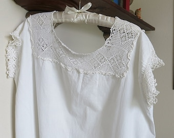 Edwardian Chemise Style Nightgown Handmade Crochet Inset Vintage Antique 1910-15