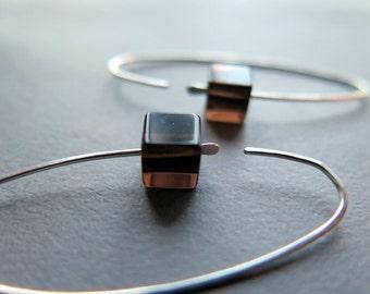 smoky quartz earrings. smokey quartz jewelry. modern hoops in sterling silver.