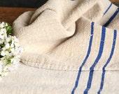 B 637 antique BRIGHT BLUE grain sack upholstery fabric 45.67 long french lin wedding tablerunner grainsack