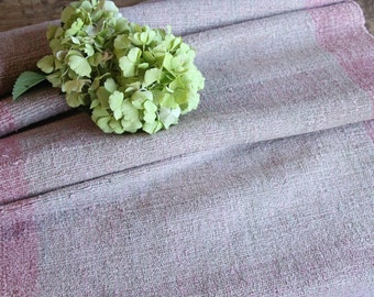 P 323 antique handloomed lin FADED ROSE 2.186yards by 22.05inches ; upholstery fabric wool and lin cushion pillow