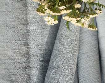 """A 327:  antique handloomed linen roll """"BABY BOY"""" BLUE elegant;  3.4 yardsx 23.23 inches ; upholstery fabric"""