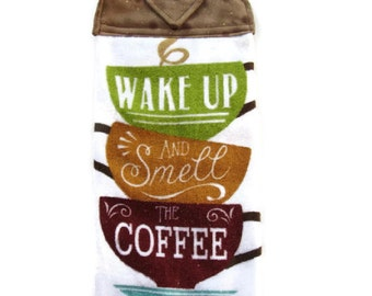 Ready To Ship  - Stacked Cups Hanging Kitchen Towel - Coffee Theme Kitchen Towel - Wake Up Button Top Kitchen Towel - Fabric Top Towel