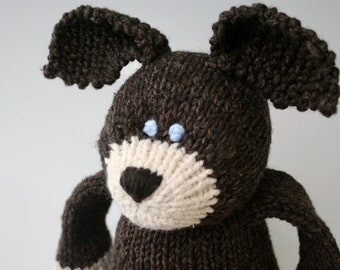 "Chocolate Dog -  Organic Cotton and Wool Hand Knit Large Eco Friendly Stuffed Animal - Toy Dog, 15.5"" tall"