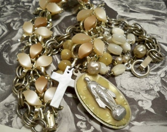Rosary necklace pieces recycle - Religious assemblage necklace - Vintage bracelet and rosary chains - MOP - One of a Kind - bycat