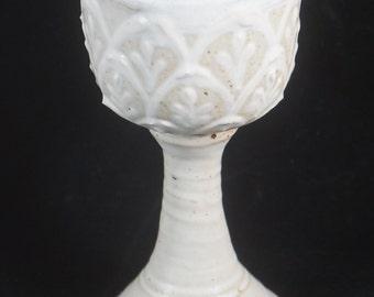 White Renaissance Goblet Handmade Pottery