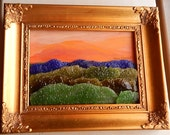 Stained Glass Art, Mountain Landscape, Mixed Media Art