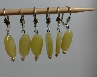 Lime Colored Stone Stitch Markers