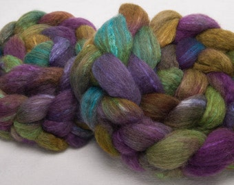 Oatmeal BFL Tussah SILK Extra Soft Hand painted 100g top roving spinning felting - Alchemy
