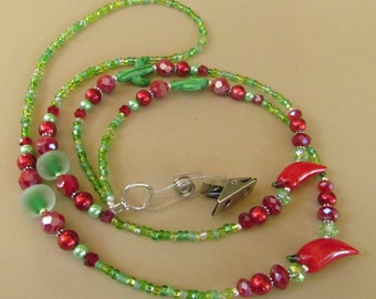 Red and Green ID Lanyard, Cactus and Chili Peppers, Southwest, Beaded, Badge Holder, ID Clip, Gift Giving, Work Id, Harleypaws, SRAJD