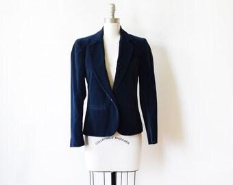 blue velvet blazer, 80s navy blazer, vintage 1980s blazer, small s