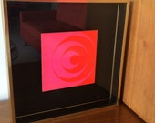 Vintage Modern Pink Circle Shapes with Black Background Mod Picture in Gold Box & Glass Frame 60's 70's Retro