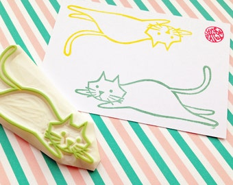 lazy cat rubber stamp. kitten hand carved stamp. family pet animal stamp. cat lovers. birthday holiday crafts. large