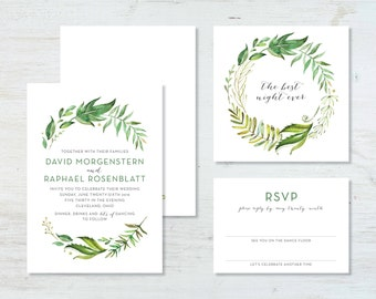 Greenery Wedding Invitation Suite (deposit)
