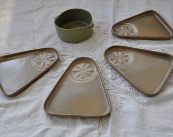 Four Bennington Potters Snack Trays With Serving Bowl/Vintage 1960s 1970s/David Gil Art Pottery/Brown Triangle Plates Olive Green Bowl