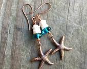 Earrings vintage metal finding with aqua czech glass snd starfish