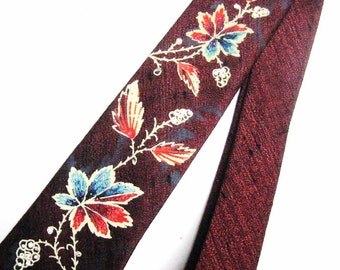 "Men's 50s 60s Vintage Rayon Necktie Burgundy, Narrow Painted Tie Leaves Leaf Pattern, Blue Orange Cream w/ Glitter Textured, 2 1/2"" x 54"""