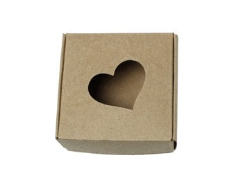 10 Kraft Gift Boxes - Light Brown Heart Pattern folding jewelry boxes 3 inches  (XP003)